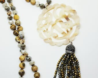 NEW ITEM! Beaded Tassel Monogram Necklaces