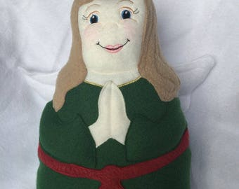 Christmas Angel Soft Saint Doll with Green and Red Dress with gold trim, Catholic Saint Doll, Angel Doll, Christmas Angel. Ready to ship!