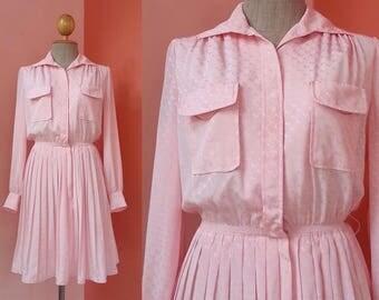 Pink Dress 80s Vintage Dress Summer Dress Shirt Dress 1980s Dress Women Dress Polyester Dress Pleated Dress Mini Dress Long Sleeve Dress