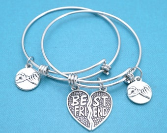 Best friend bangle bracelet set. Best friend gift. Bff gifts.  Friendship Gifts.  Sister Bracelets.  Mother Daughter Bracelets.