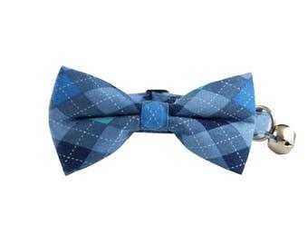 Blue Argyle - Cat or Kitten Breakaway Safety Collar- Bow Tie Cat Collar- Removable Bowtie