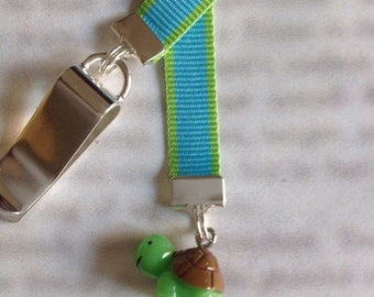 ON SALE Turtle bookmark, cute bookmark with clip - Attach to book cover then mark the page with the ribbon. Never lose your bookmark!