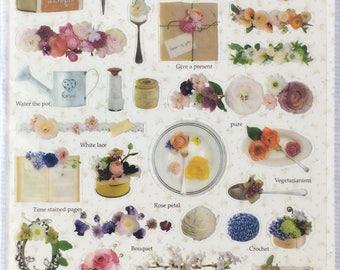 Antique Floral sticker,Planner sticker, stationery, diary sticker, planne, craft supply,scrapbooking supply