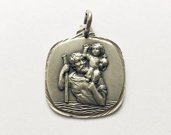 Vintage French St Christopher Medal Religious Lucky Charm Saint Christopher Pendant