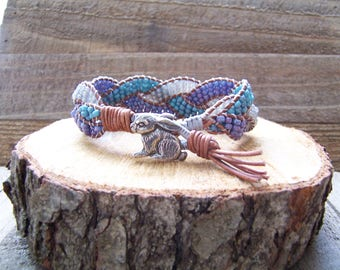 Pewter Bunny Rabbit Beaded Braided Leather Wrap Cuff Bracelet, Beaded Leather Cuff, Rabbit Bracelet, Rabbit Jewelry, Leather Jewelry