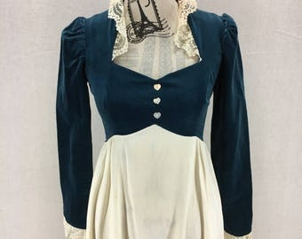 Vintage Gunne Sax Velvet Lace and Poplin Hippie Boho Dress Size 7
