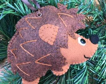Wool Felt Hedgehog Ornament Hanger In Bewitching Brown