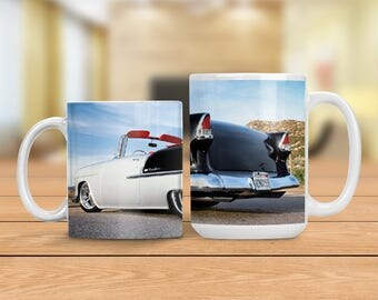 1955 Chevy Bel Air Mug, Vintage Car Cup, Classic Automobile Mug, Man Cave Gift Idea, Gift for Dad, Gift for Car Lover, Vintage Chevrolet Car