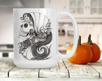 Sugar Skull Skeleton Woman Mug, Halloween Skeleton Bride Mug, Engagement Wedding Marriage Present, Sugar Skull Skeleton Female, Bones Cup