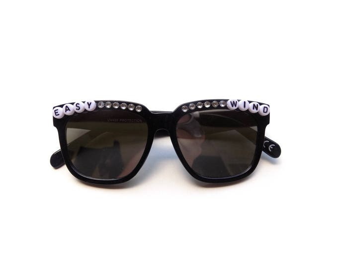 "Grateful Dead ""Easy Wind"" decorated sunglasses, funky embellished sunglasses perfect for music festivals and Dead and Company tour"