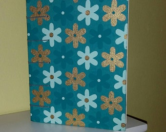 Blue and Gold Flowers, Journal/Sketchbook with Coptic Binding (free shipping)