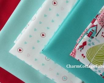 "SALE Red and Aqua Fat Quarter Bundle ""Lil Red"" Riding Hood Moda Fabrics Fat Quarter Bundle of 5  100% Cotton Fabric"