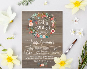 baby sprinkle invitation, Sprinkle Shower Invitation, vintage baby sprinkle invitations, floral baby sprinkle, free thank you card, WR