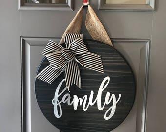 Family Door Sign, Wall Decor, Family Door Hanger, Round Door Sign, Front Door Sign, Anniversary Gift, Wood Door Hanger, All Year Door Hanger