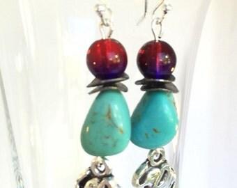 Turquoise Garnet Sterling silver Turquoise Elephant earrings  Elephant earrings