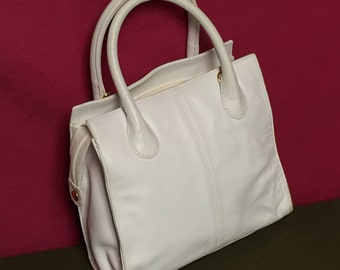 Vintage Giani Bernini, White Leather Handbag,