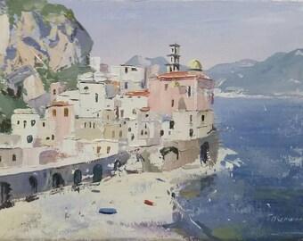 "Original 'Atrani' 7x5"" oil on canvas painting"
