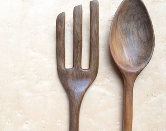 Hand-carved, solid chestnut, wooden serving spoon/fork set