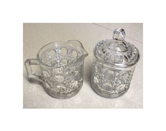 Pressed Glass Cream and Sugar Set Classic Mid Century Modern Federal Glass Diamond Windsor Pattern Clean and Stylish