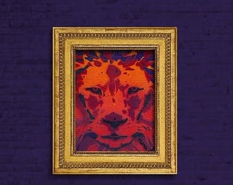 50%OFF Deep Red Lion, Colorful Wall Art, Stencil Safari Animals, Artwork, Painting, Red, Yellow, Black, Purple, Orange, Spray Paint Canvas B