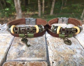 Couples Bracelet, Matching Bracelets Made To Order, Long distance Bracelet Set, Couples Leather Bracelet, Couples Gift