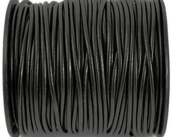 10 Yards 3mm Black Leather Cord, High Quality European Leather, LC3R-6000