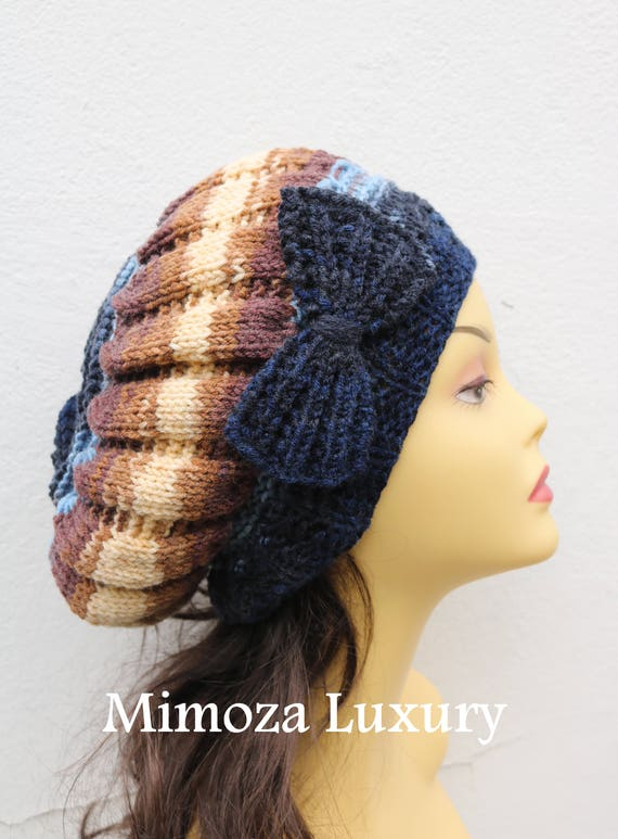 Navy Blue/Brown Woman Hand Knitted Hat with Bow, navy blue Beret hat with bow, blue knit hat, slouchy knit women's hat with bow, blue winter