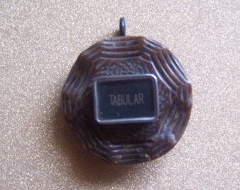 Vintage carved brown button tabular typewriter key repurposed up cycled pendant necklace jewelry