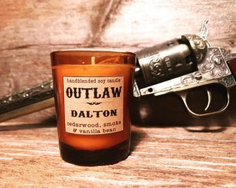 Dalton Soy Candle-3 ounce-man candle-mens scented candle-cedarwood-vanilla-campfire-rugged candle-gifts for men