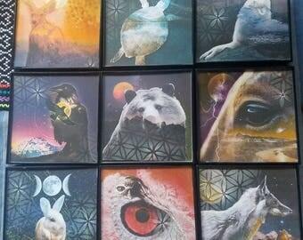 "COLLECTION of all 9 TOTEM MEDICINE 4""x4"" Framed Original Mixed Media Digital Collage"