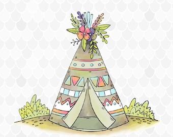 Boho Clip art, Teepee Clipart, Watercolor Tipi, Tipi Clipart, Tribal Clipart, Digital Clipart, Tribal Clip Art, Teepee Clip-art, Bohemain