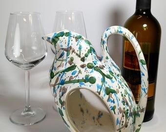 Brocca Il Gallo (1 litro) ceramica e resina (bianco, azzurro, verde, grigio)