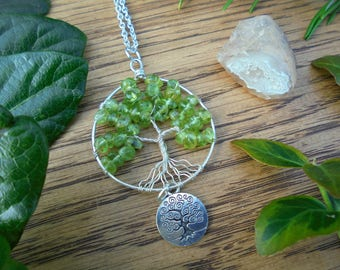 Elden Root / peridot tree of life / tree of life pendant / peridot jewelry / boho necklace / august birthstone