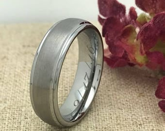 6mm Tungsten Wedding Ring, Brushed Finish Tungsten Ring , His and Hers Wedding Ring,  Men's Tungsten Wedding Band Ring