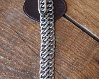 Vintage Heavy Chain Key Holder with Leather Belt Slide On FRANCE