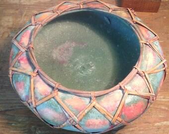 Japanese terra cotta and bamboo flowerpot holder