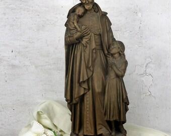 """Large Statue Saint Vincent de Paul Monastery Patron Charity Hospital Plaster 24.40"""""""