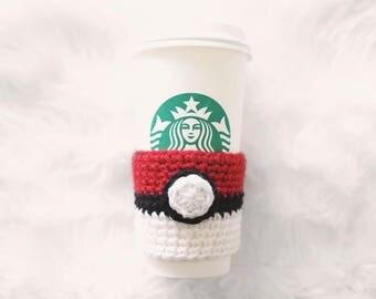 Pokeball Coffee/Tea Cup Cozy   coffee cup cozy   tea cup cozy   pokemon   pokeball   reusable   eco-friendly