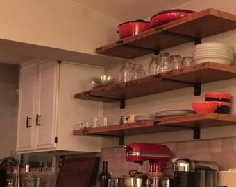 """36"""" x 9.5"""" Reclaimed Wood Shelf with Two Handcrafted Metal Shelf Brackets by lemay+rivenbark design lab"""