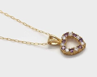 Amethyst Pendant, Amethyst Necklace, Purple Stone Necklace, Cubic Zirconia Necklace, Gemstone Necklace, Amethyst Jewellery, Purple Amethyst