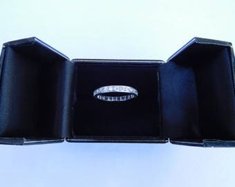 Rare Early 1900s Traditional French Art Deco Platinum Old European Cut Diamonds Eternity Ring ! US Size 7 3/4 UK P 1/2 True Love Halo Stars