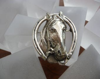 Sterling Silver Horse Head Pin/Sterling Silver Horse Head Horse Shoe Pin/Lang Sterling Horse Head Pin/Lang Sterling Horse Pin/Lang Horse Pin