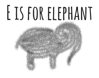E is for Elephant 10X8in, Printable, Digital Download, Nursery, Wall Decor