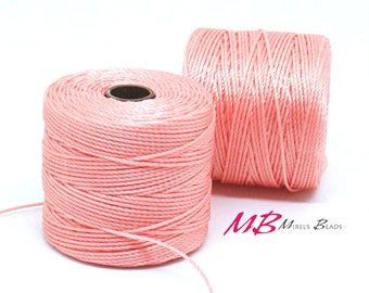 Coral Pink S-Lon Macrame Cord 77 Yards, Nylon Beading Cord .5 mm