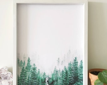 Forest Print, Nature Print, Forest Art, Nature Art, Forest Painting, Landscape Painting, Tree Art, Forest Artwork, Evergreen, Landscape Art