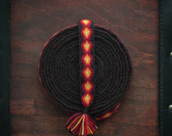 Ember Eyes - Tablet woven, woolen trim for viking reenactment and LARP costumes