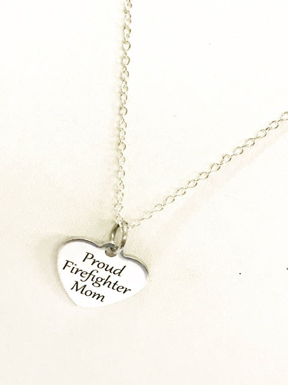 Firefighter Mom Necklace, Proud Firefighter Mom Jewelry, Gift For Firefighter Mom, Firefighter Mother Gift, Gift For Mother Of Firefighter