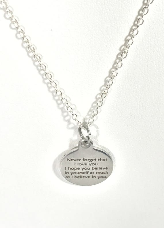 Believe In Yourself Necklace, Never Forget That I Love You Necklace, I Belive In You Necklace, Encouraging Daughter Jewelry, Wife Jewelry