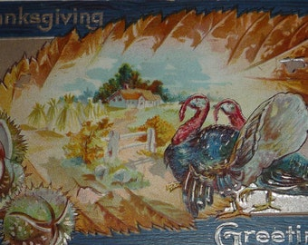 Two Turkeys With Large Pecan Leaf Scenic Vignette Antique Thanksgiving Postcard