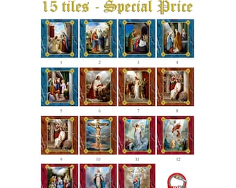 Religious gifts - The Mysteries of the Holy Rosary - 15 tiles collection - 2 sizes available - virgin mary - catholic rosary - prayer room
